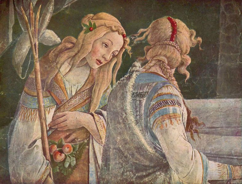 Detail of Tsipporah from Eventos de la vida de Moisés (Sandro Botticelli, Sistine Chapel)