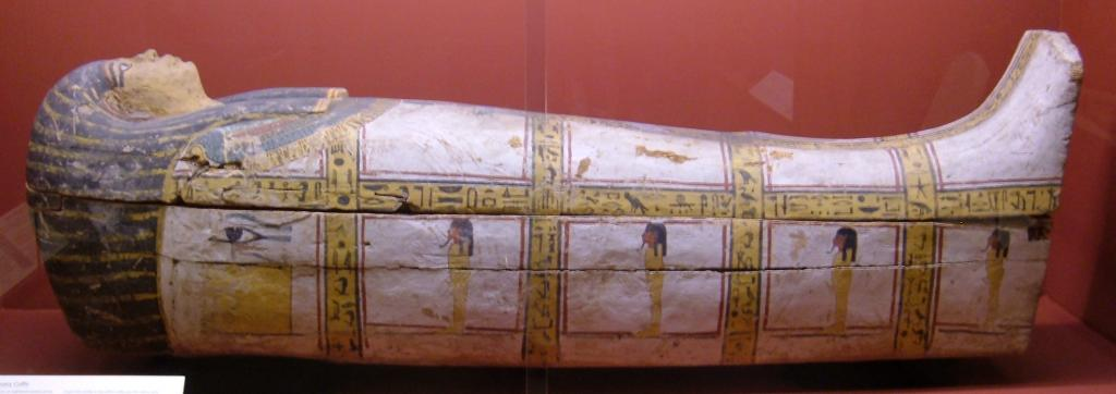 An 18th dynasty wooden coffin on display at the Rosicrucian Egyptian Museum in San Jose, California. RC 1678 (credit: BrokenSphere. license: CC BY)