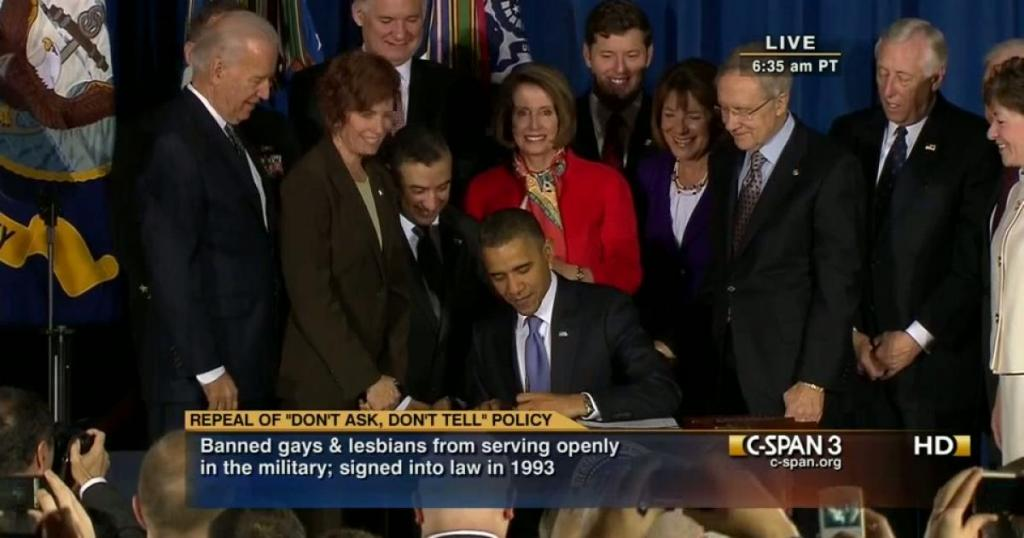 Presidential signing ceremony for the don't ask don't tell repeal act in 2010