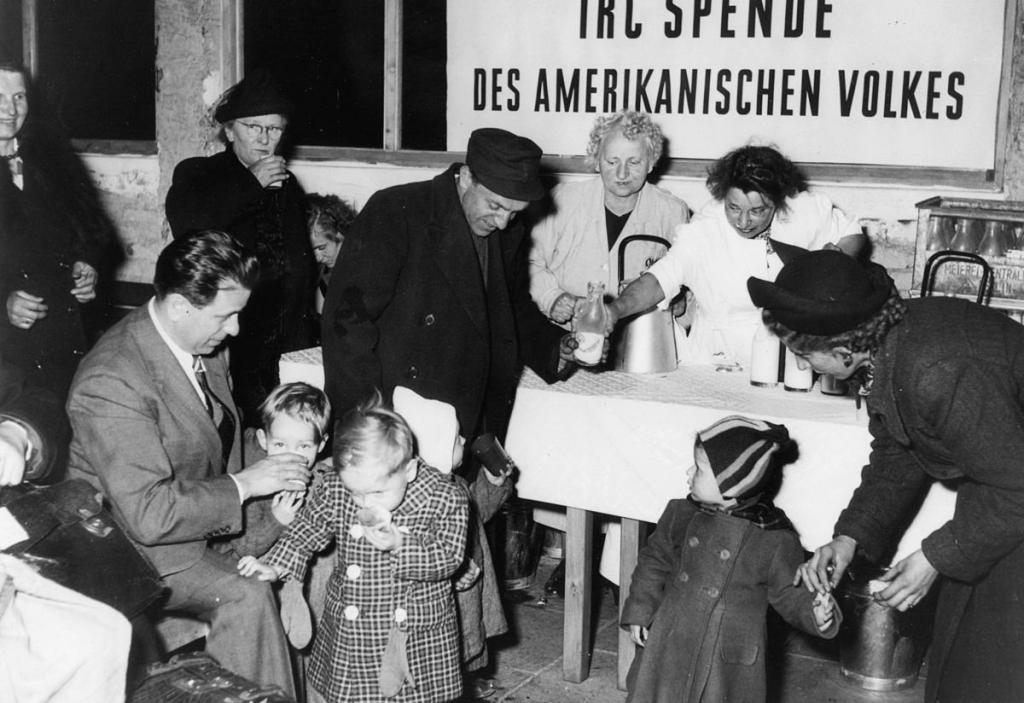 """Carol Sternberg (former International Rescue Committee executive director) visits a food distribution center in Berlin in 1945."""