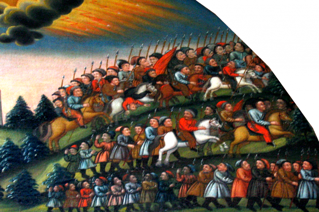 A detail of a 17th-century painting in the Pszonka chapel of the Lublin Dominican cloister. It depicts the retreat of Bohdan Chmielnicki's troops from the vicinity of Lublin.