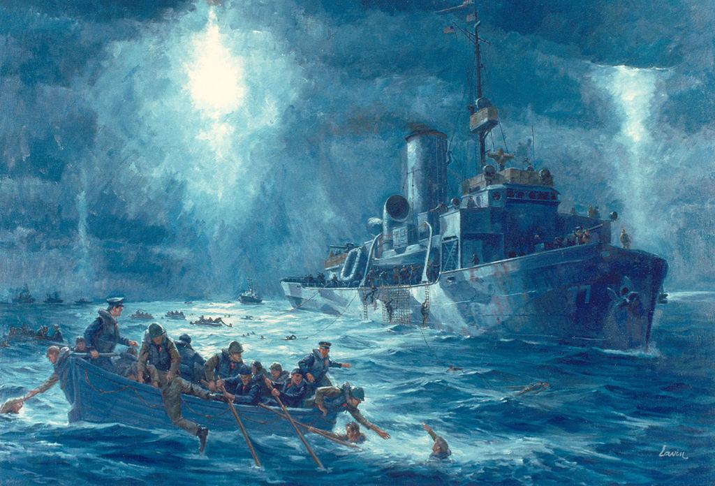 """Painting of the crew from Coast Guard Cutter Escanaba rescuing survivors from the torpedoed USAT Dorchester"" (credit: U.S. Coast Guard)"