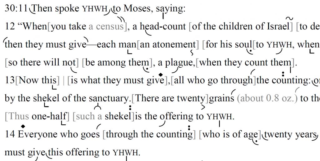 Detail of transtropilized translation of a portion of Parashat Ki Tissa.