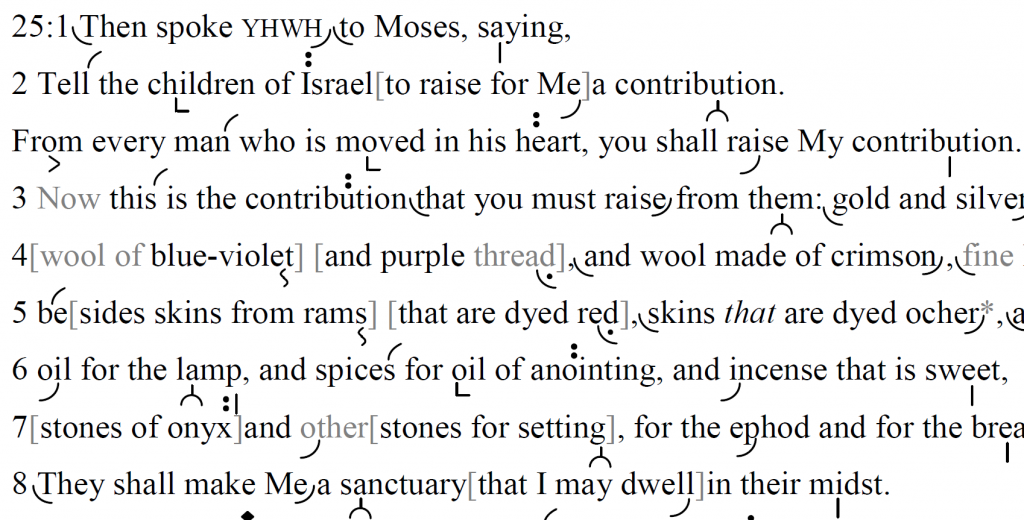 Detail of transtropilized translation of a portion of Parashat Terumah.
