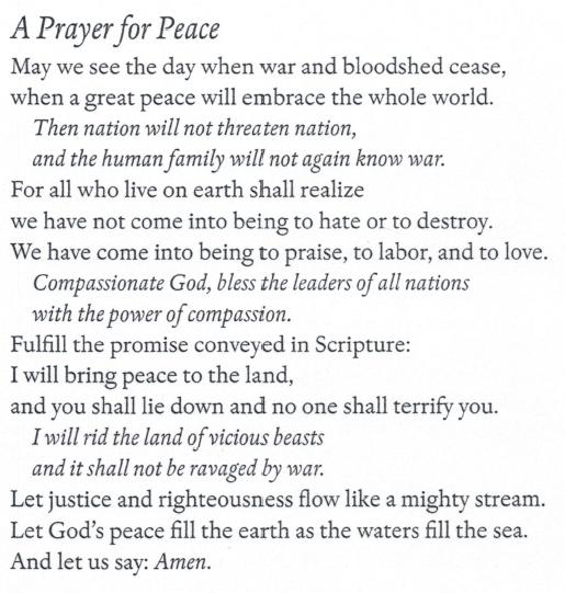 Prayer for Universal Peace, by Rabbi Hillel Lavery-Yisraëli • the