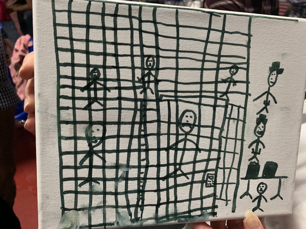 One of three pictures drawn by children recently released from CBP custody, shared by a social worker to the president-elect of the American Academy of Pediatrics, Dr. Sara Goza, and shown on CBS This Morning in July 2019. (via Jake Tapper on Twiiter)