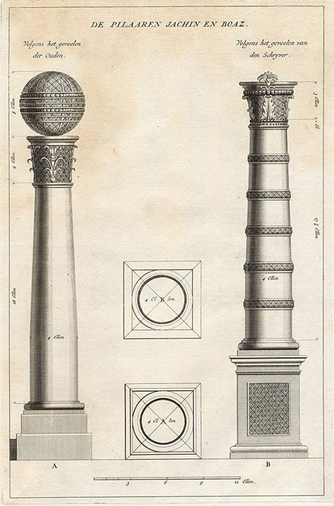The Pillars of Jachin and Boaz. Architectural draft by Augustini Calmet (1789, based on 1725 draft)