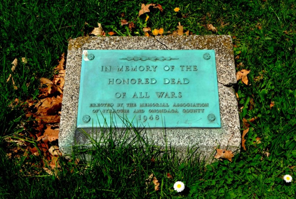 """In Memory of the Honored Dead of All Wars,"" a memorial marker established by Syracuse and Onondaga Counties, New York"