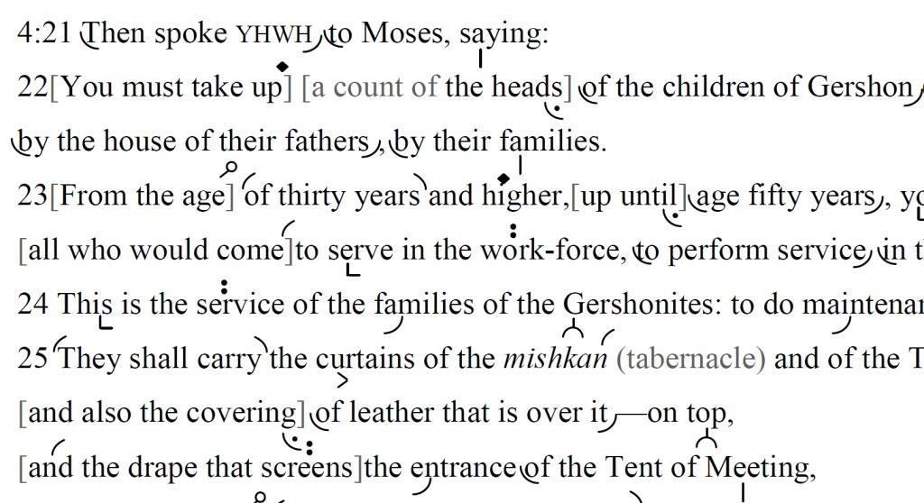 Detail of transtropilized translation of a portion of Parashat Naso.