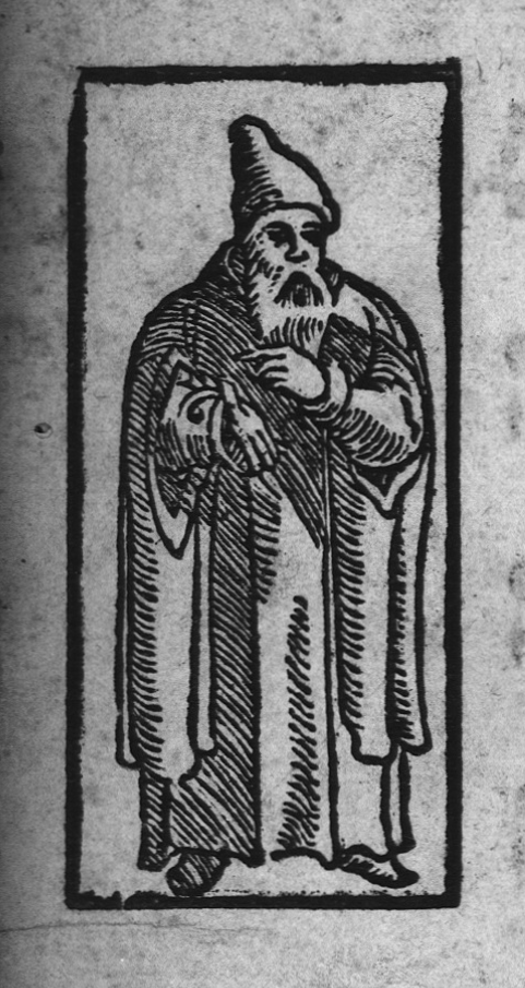 A figure in a woodcut illustration opposite the prayer Nishmat Kol Ḥai in a haggadah from Prague, 1526