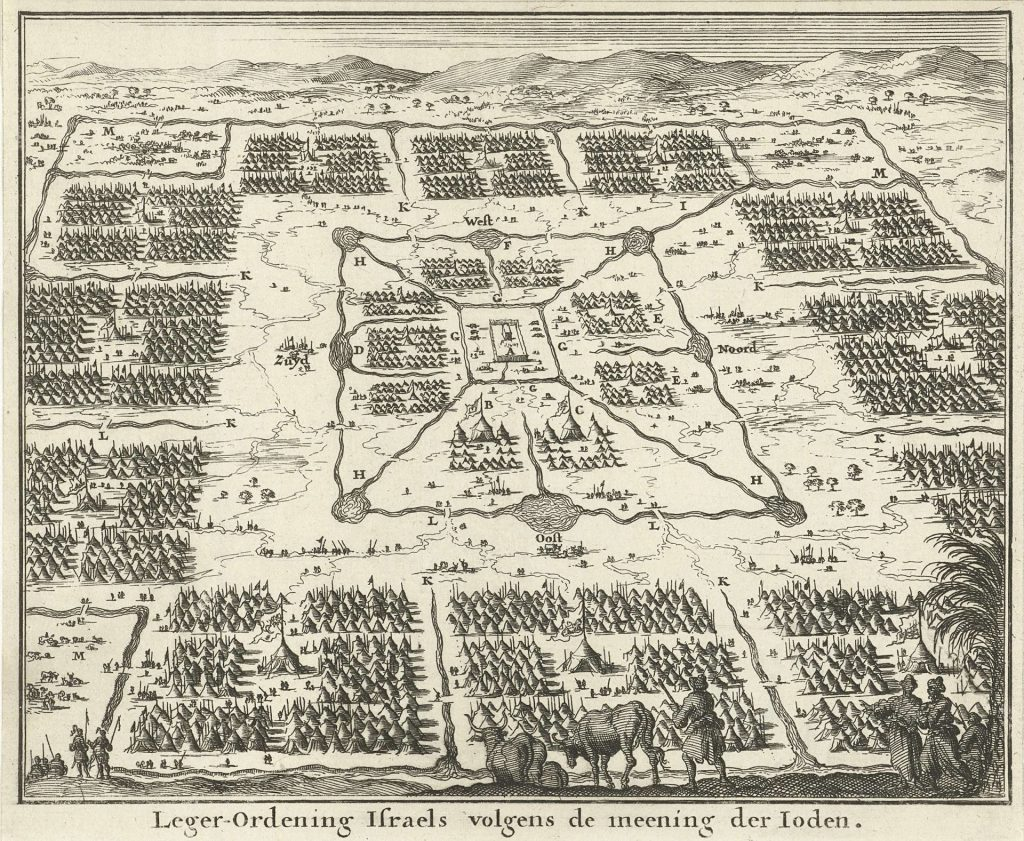 Jan Luyken's oblique adaptation (circa 1680) of a map drafted by Rabbi Jacob Jehuda Leon (Templo), 1654.