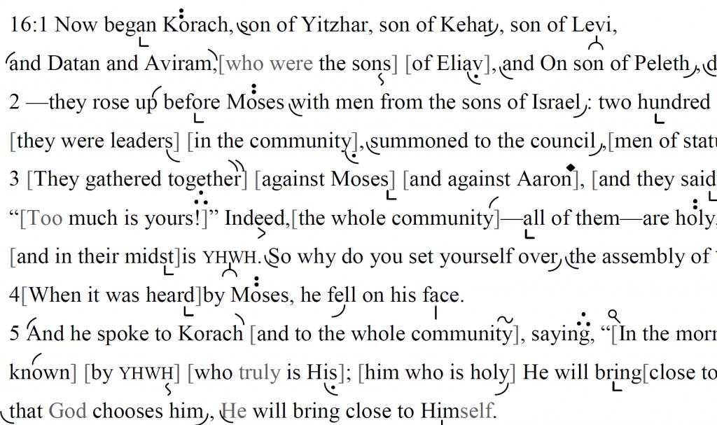 Detail of transtropilized translation of a portion of Parashat Qoraḥ.