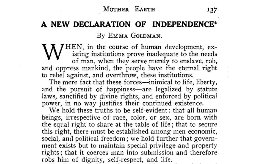 A New Declaration of Independence, by Emma Goldman (1909)
