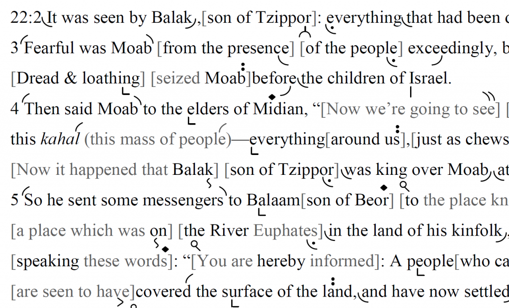 Detail of transtropilized translation of a portion of Parashat Balaq.