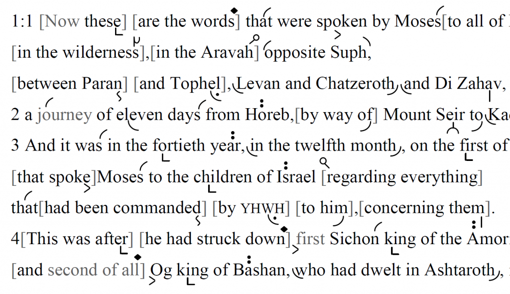 Detail of transtropilized translation of a portion of Parashat Devarim.