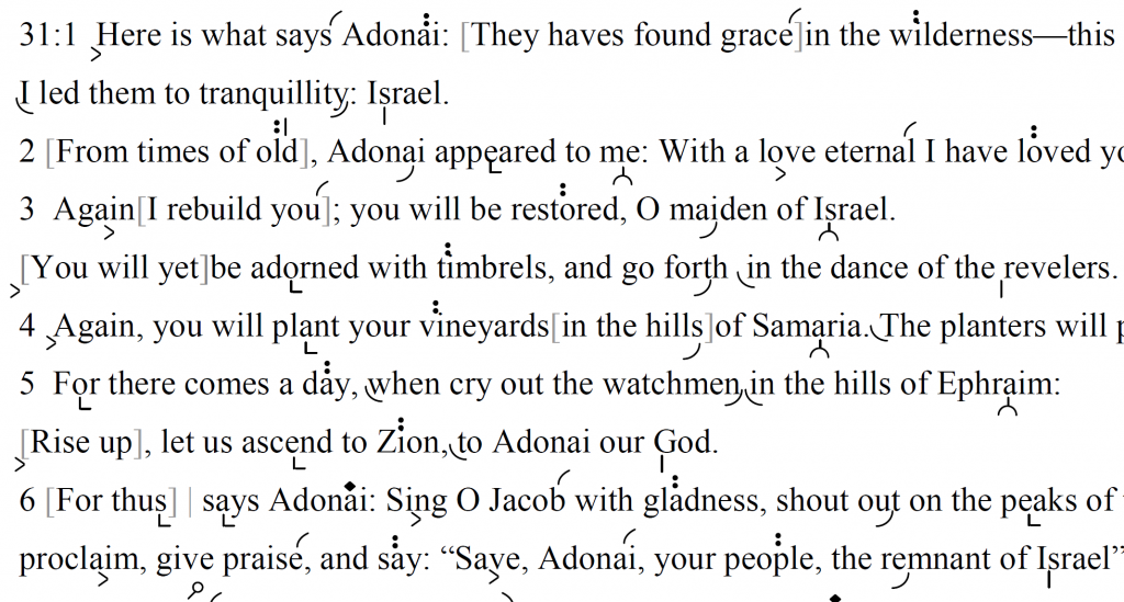 Detail of transtropilized translation of a portion of the Haftarah reading for the second day of Rosh haShanah.