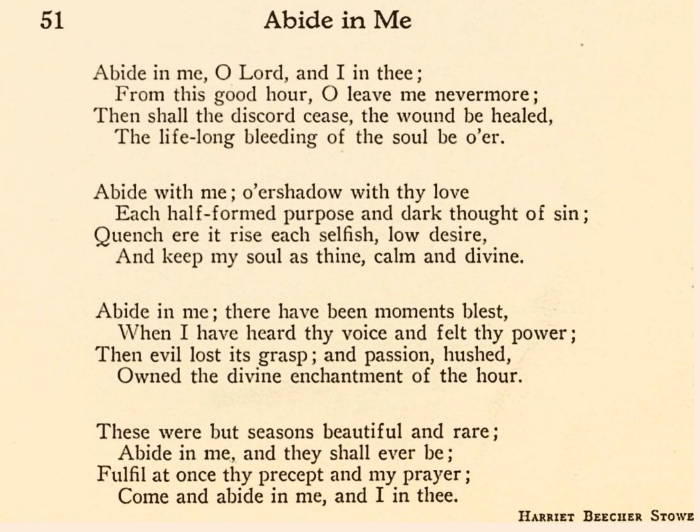 """Abide in Me, and I in You: the Soul's Answer,"" a prayer-poem by Harriet Beecher Stowe (1855/1865)"