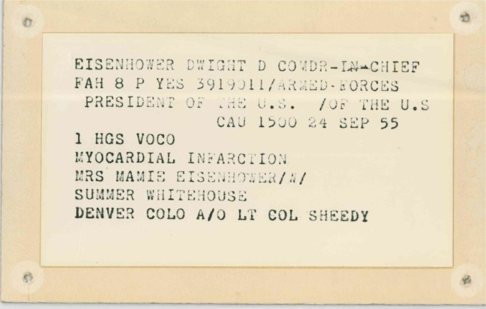 Reproduction of Dwight D. Eisenhower's hospital admission card, September 24, 1955.