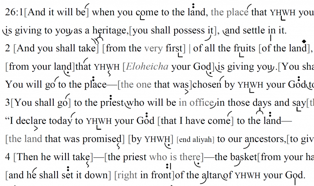 Detail of transtropilized translation of a portion of Parashat Ki Tavo.