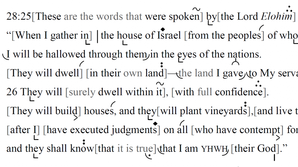 Detail of transtropilized translation of a portion of the Haftarah for Parashat Va'era.