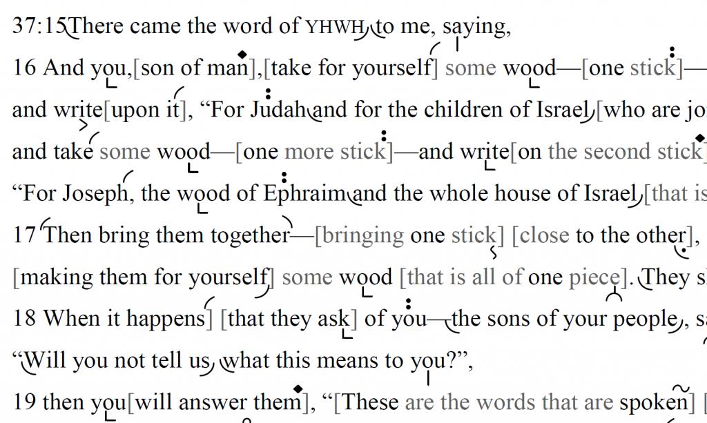 Detail of transtropilized translation of a portion of the Haftarah for Parashat Vayigash.