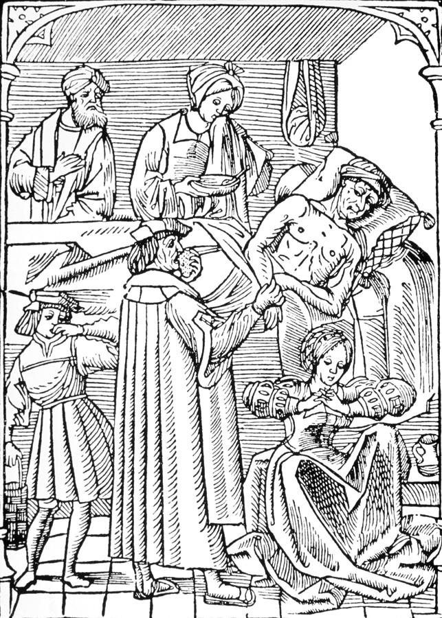 15th-century woodcut showing plague victim