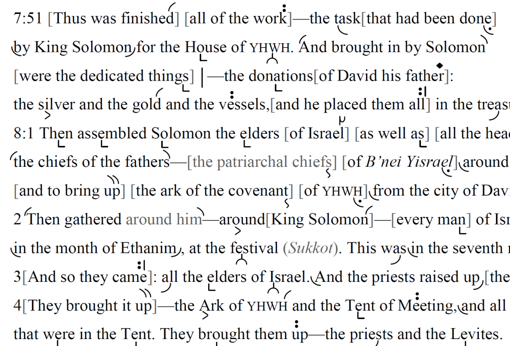 Detail of transtropilized translation of a portion of the Haftarah for Parashat Ph'qudei.