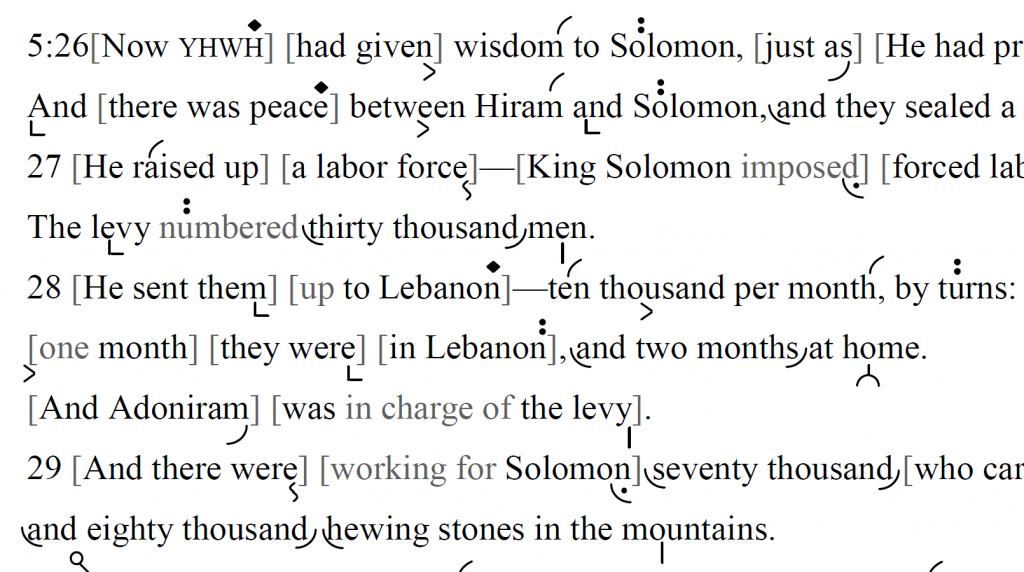 Detail of transtropilized translation of a portion of the Haftarah for Parashat Terumah.