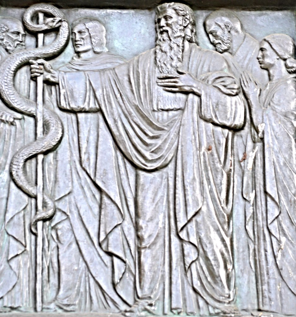 Moses and Nehushtan on The Golden Doors (Henry Wilson 1927-31, Cathedral Church of St. John)