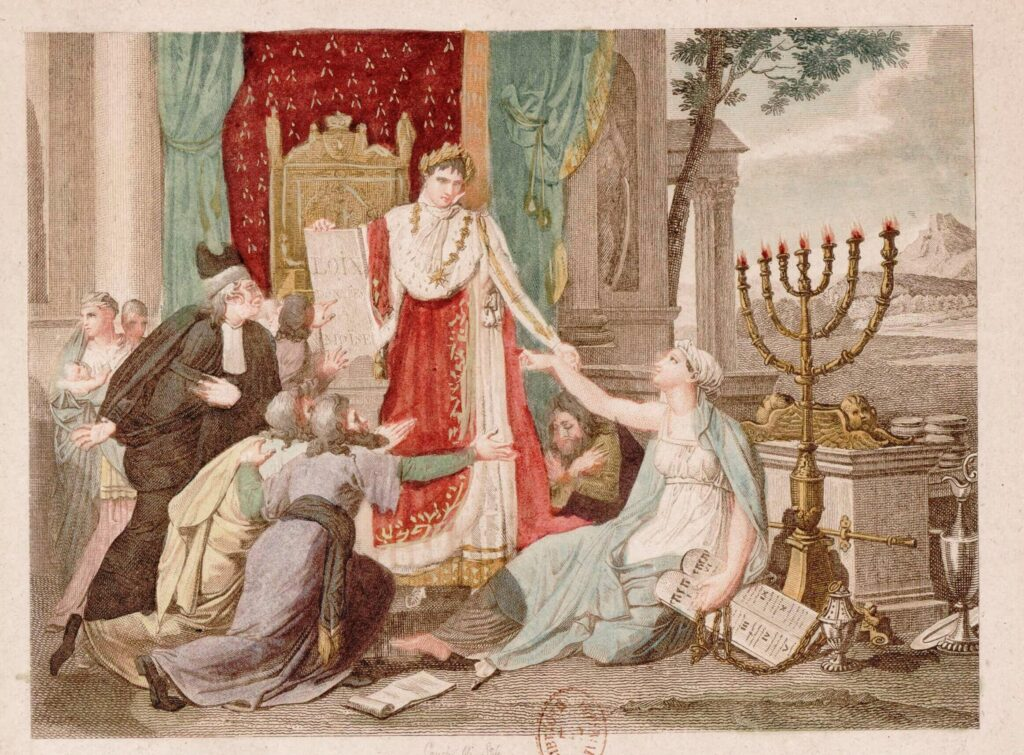 """""""Napoléon le grand rétablit le culte des Israélites le 30 mai 1806"""" Napoleon grants freedom to the Jews. 1806 print, in which Napoleon grants the Jews freedom to worship, represented by the hand given to the Jewish woman."""