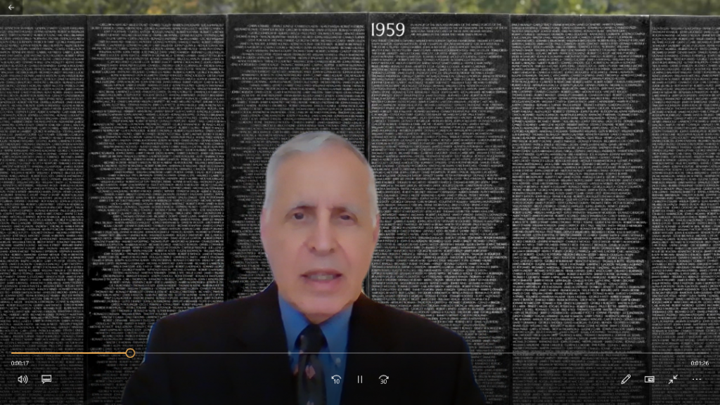 A virtual rendering of Rabbi Arnold Resnicoff before the Vietnam Veterans Memorial for a Memorial Day commemoration during the COVID-19 coronavirus pandemic