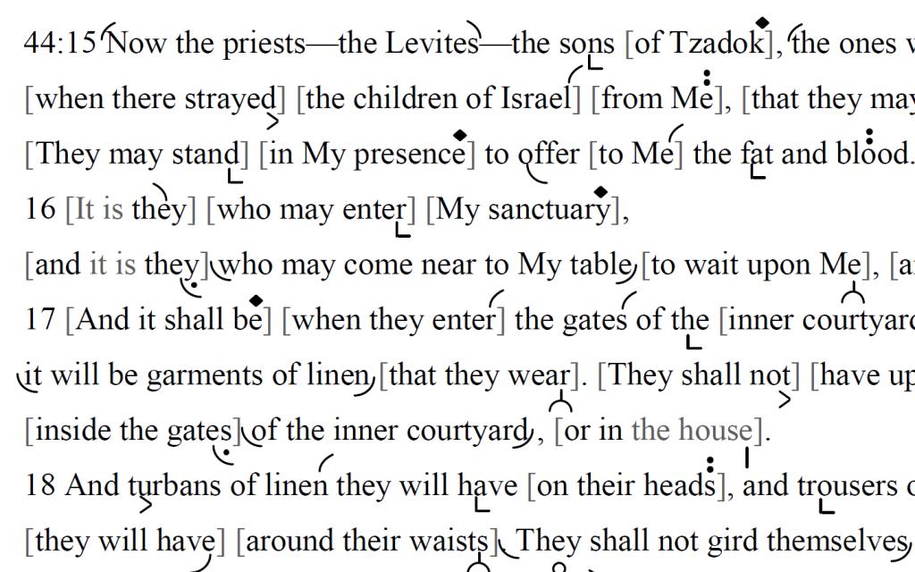 Detail of transtropilized translation of a portion of the Haftarah for Parashat Emor.