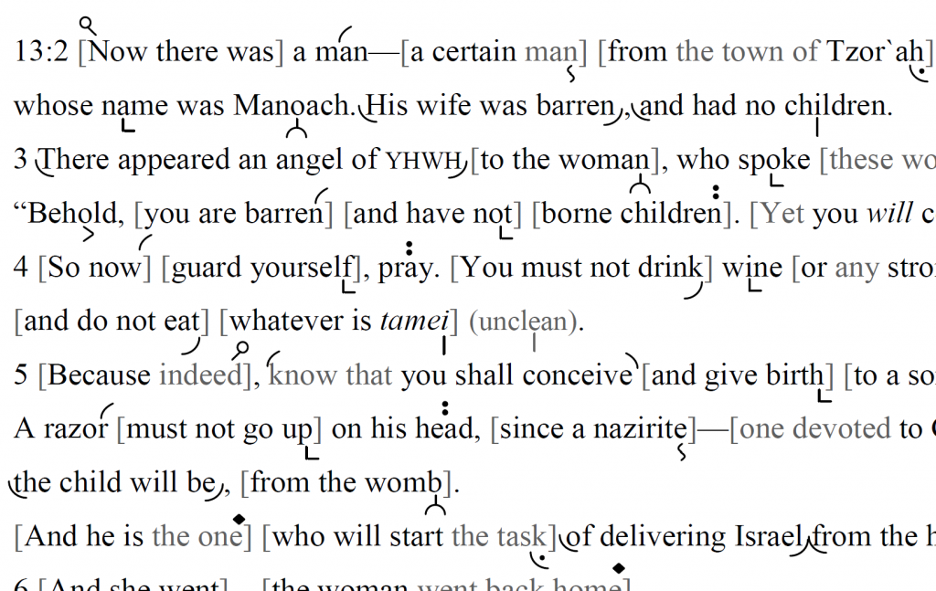 Detail of transtropilized translation of a portion of the Haftarah for Parashat Naso.