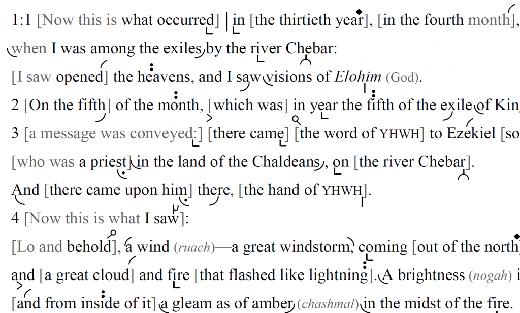 Detail of transtropilized translation of a portion of the Haftarah for Shavuot Day One.