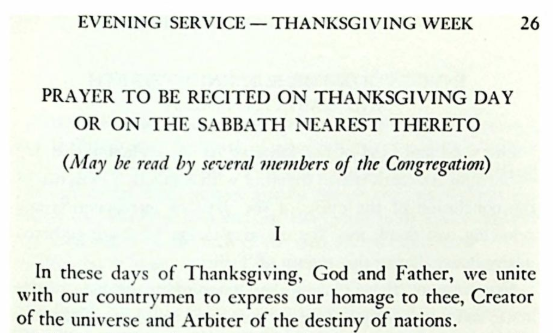 Thanksgiving Day Prayer, by Rabbi Max Klein (1954)