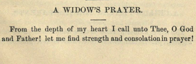 Detail of Moritz Mayer's prayer for a widow (Moritz Mayer 1866).