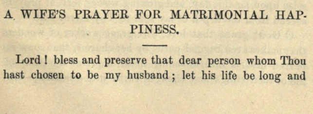 Detail of Moritz Mayer's prayer for a wife for matrimonial happiness (Moritz Mayer 1866).