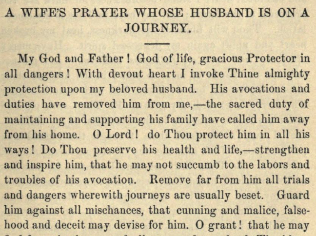Detail of Moritz Mayer's prayer for a wife whose husband is on a journey (Moritz Mayer 1866).