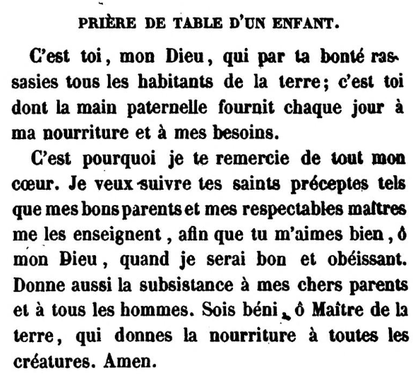 Prière de table d'un enfant (Jonas Ennery and Arnaud Aron 1852)