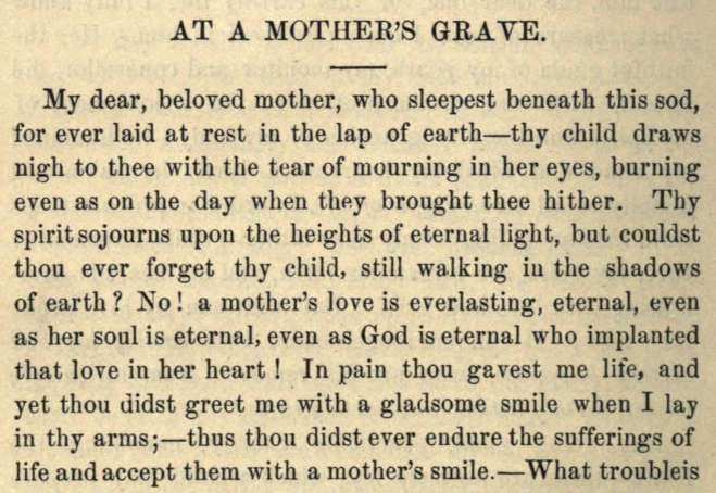 Detail of Moritz Mayer's prayer at a mother's grave.