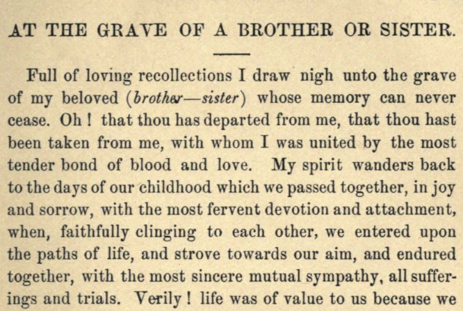 Detail of Moritz Mayer's prayer for visiting a grave of a brother or sister.