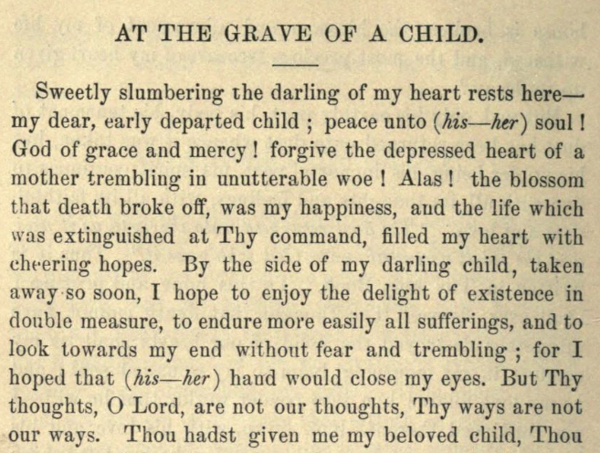 Detail of Moritz Mayer's prayer for visiting a grave of a child.