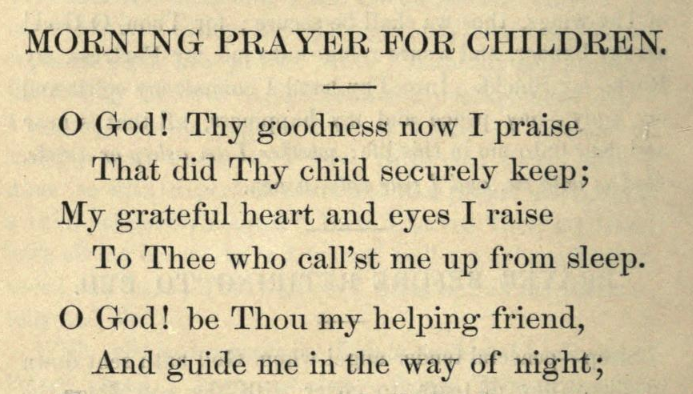 Detail of Moritz Mayer's morning prayer for children.
