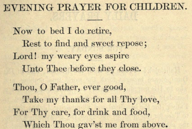 Detail of Moritz Mayer's bedtime prayer for children.