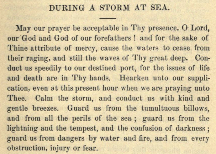 Detail of Moritz Mayer's prayer during a storm at sea.