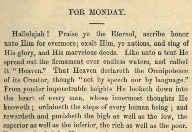 Detail of Moritz Mayer's Monday prayer.