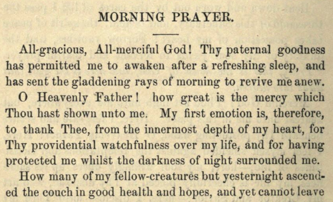 Detail of Moritz Mayer's morning prayer.