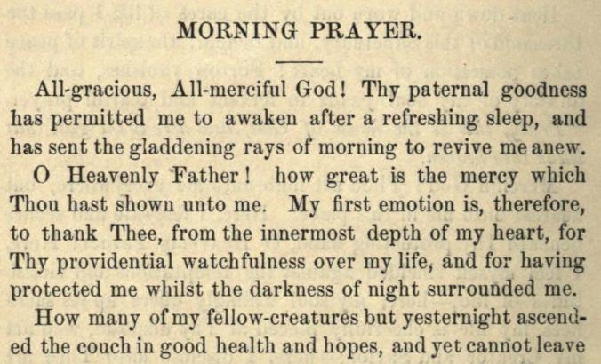 Detail of Moritz Mayer's morning prayer.