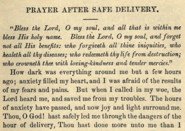 Detail of Moritz Mayer's prayer after safe delivery (Moritz Mayer 1866).