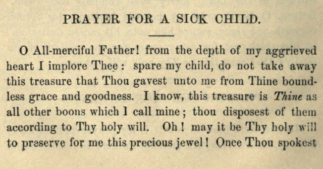 Detail of Moritz Mayer's prayer for a sick child (Moritz Mayer 1866).